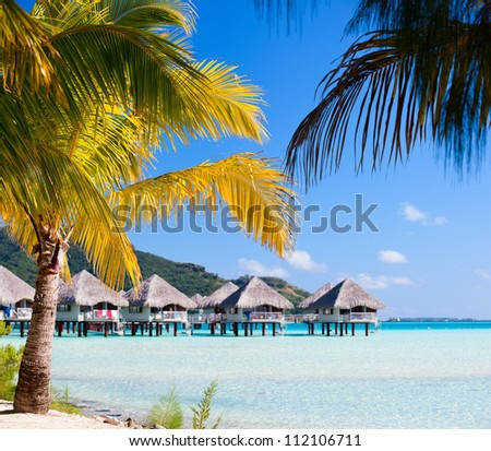 Beautiful beach on Bora Bora island in French Polynesia - stock photo