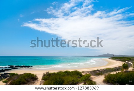 Beautiful beach on Galapagos Isabela island, Ecuador - stock photo
