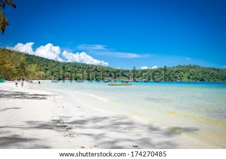 Beautiful beach on  Koh Rong Samloem island  in Cambodia. - stock photo