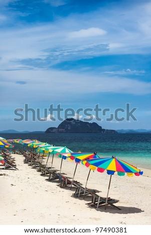Beautiful Beach on Paradise Island at Phuket Thailand - stock photo