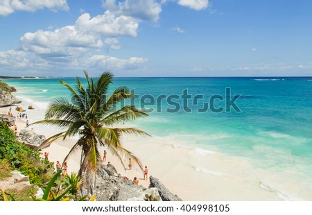 Beautiful beach on the Caribbean coast. Tulum, Mexico - stock photo
