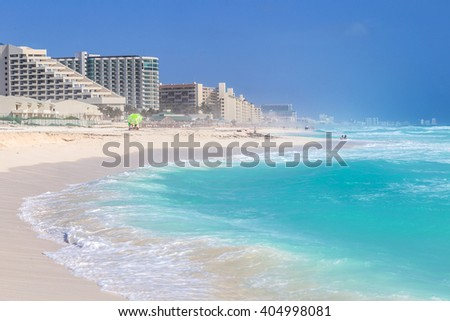 Beautiful beach on the Caribbean coast. Zona Hoteliera, Cancun, Mexico - stock photo