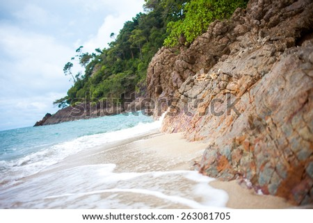 Beautiful beach on the island of Thailand, the rainy season - stock photo