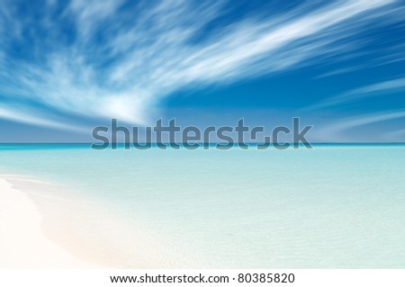 beautiful beach on the maldives in summer - stock photo