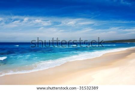 Beautiful beach on the NSW coastline - stock photo