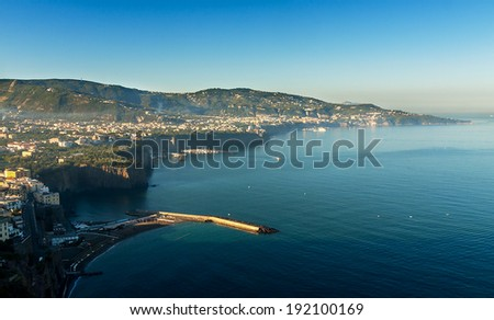 beautiful beach  on the Sorrento coast opposite the island of Capri, one of the most beautiful places in the coast - stock photo