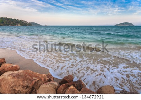 Beautiful beach on tropical island, Gulf of Thailand, Thailand - stock photo