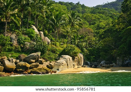 Beautiful beach on tropical Pacific coast of Mexico - stock photo