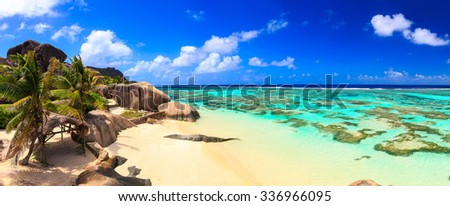 Beautiful beach panoramic view on a paradise island near the ocean on Seychelles - stock photo