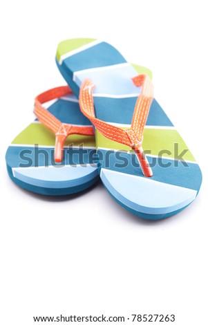 beautiful beach slippers isolated on white - stock photo