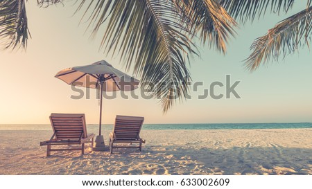 Beautiful beach. Summer holiday and vacation concept background. Inspirational tropical landscape design. Tourism and travel design