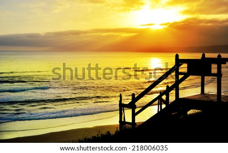 Beautiful beach sunset and view of the ocean