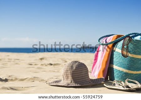 Beautiful beach, white sand, sunshine. Great for travel backgounds. - stock photo