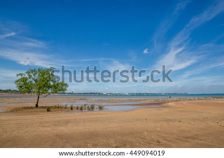 Beautiful beach with blue sky and city in the distance
