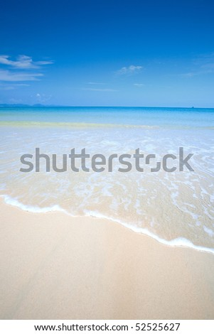 Beautiful beach with clear blue sky and beautiful blue sea