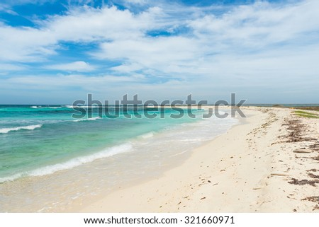 Beautiful beach with colorful water in Key Horseshoe, at La tortuga Island, in the Caribbean Sea