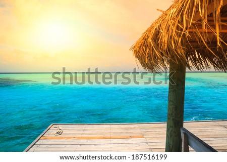 Beautiful beach with jetty at Maldives - stock photo
