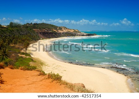 Beautiful beach with palm trees at Praia do Amor near Pipa Brazil - stock photo