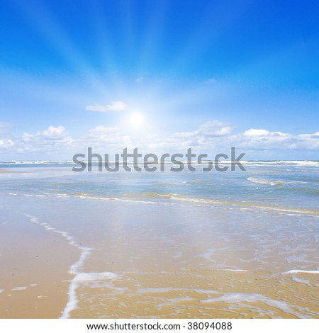 Beautiful beach with sunlight - stock photo
