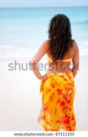 Beautiful beach woman in bikini looking at the ocean - stock photo