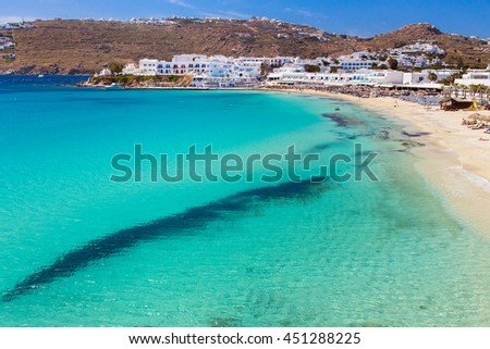 Beautiful beaches in Mykonos, Greece