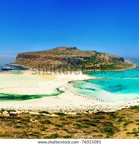 beautiful beaches of Greece - Crete Balos bay - stock photo