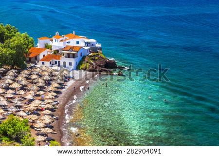 beautiful beaches of Greece-Vlychos on Hydra island - stock photo