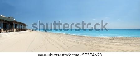 beautiful beachfront on cancun resort - stock photo