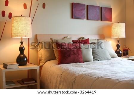 Beautiful bedroom. - stock photo