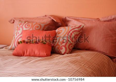 Beautiful bedroom in citrus colors - stock photo