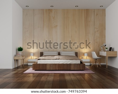 Beautiful Bedroom Interior design modern with wooden wall background  3d rendering Design Modern Wooden Stock Illustration