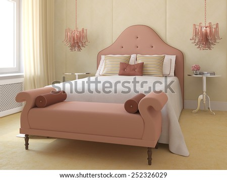 Beautiful bedroom interior for young girl. 3d render. - stock photo
