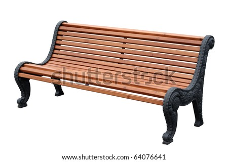 Beautiful bench separately on a white background - stock photo