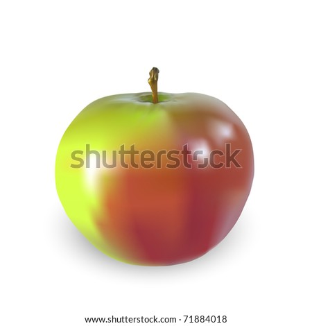 Beautiful big apple isolated on a white background, illustration. JPG-version