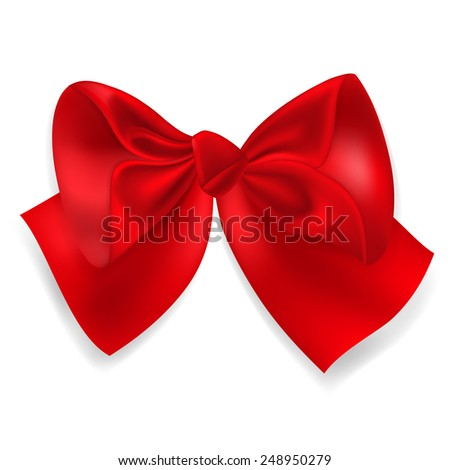 Beautiful big bow made of red ribbon - stock photo