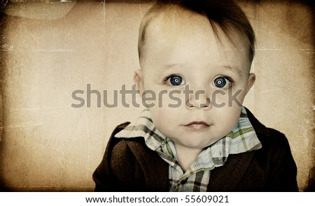 Beautiful big eyed Baby Boy - Textured
