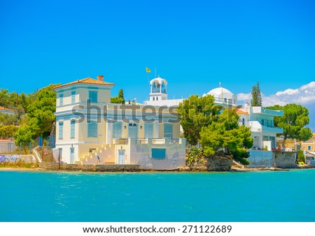 beautiful big house by the sea in Spetses island in Greece - stock photo