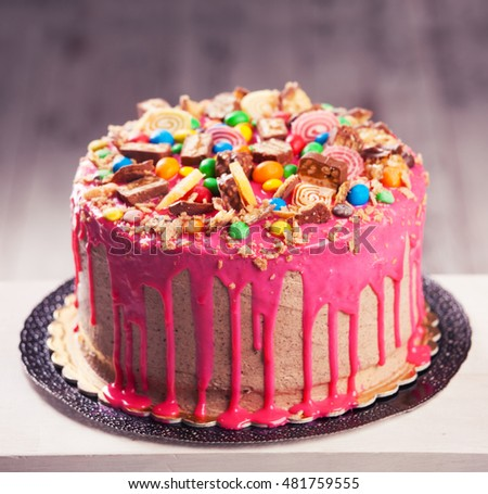 Beautiful Big Pink Cake Birthday Cake Stock Photo 316322498