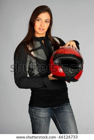 Beautiful biker - stock photo