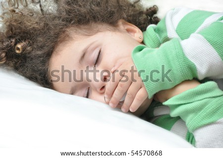 Beautiful Biracial Toddler Sleeping with Pacifier