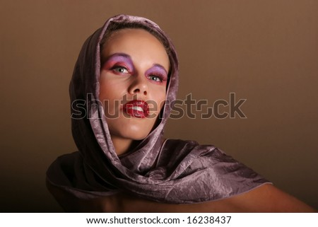 Beautiful biracial woman in scarf