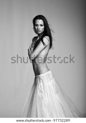 Beautiful black and white art portrait of gorgeous girl - stock photo