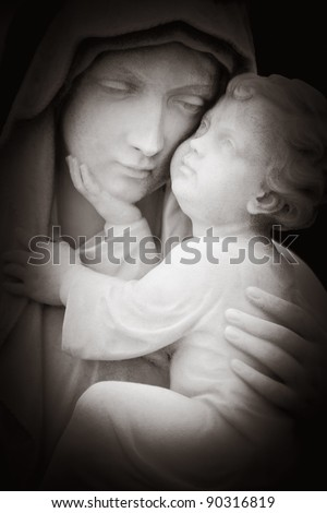 Beautiful black and white image of tlhe virgin Mary and the baby Jesus - stock photo