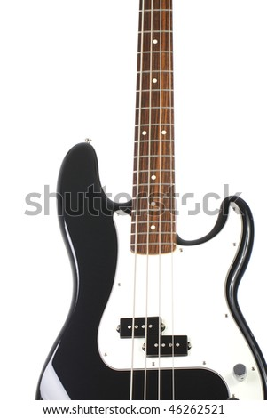 Beautiful Black And White Precision Bass Guitar Isolated On Background