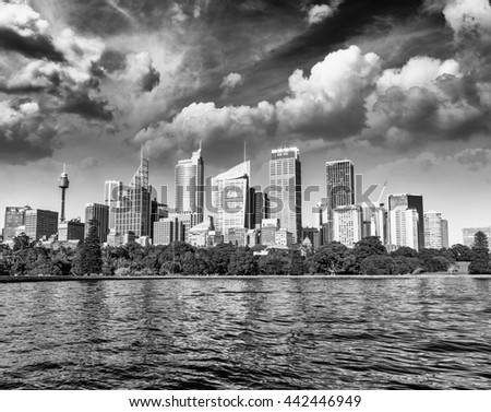 Beautiful black and white skyline of Sydney, Australia. - stock photo