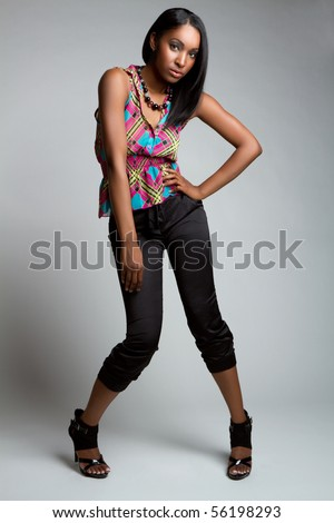 Beautiful black fashion model girl - stock photo