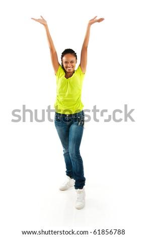 beautiful black girl on white background - stock photo