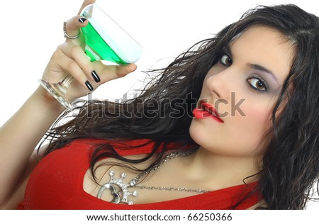beautiful black girl with a cocktail isolated on white - stock photo