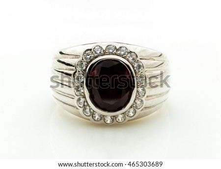 beautiful black jasper ring  on white background