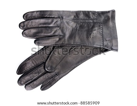 Beautiful black leather women's gloves isolated on white